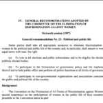 CEDAW General recommendation No. 23: Political and public life