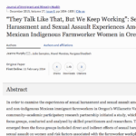 Sexual Harassment and Sexual Assault Experiences Among Mexican Indigenous Farmworker Women in Oregon