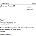 Report of the Working Group on the Issue of Discrimination Against Women in Law and in Practice on its Mission to Tunisia