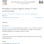 Workplace Violence Against Nurses: A Cross-Sectional Study